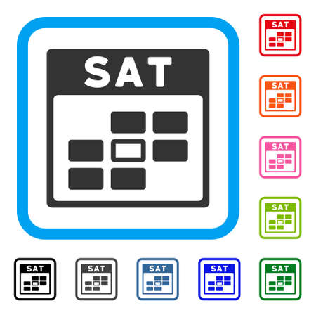 Saturday Calendar Grid icon. Flat gray iconic symbol inside a light blue rounded squared frame. Black, gray, green, blue, red, orange color versions of Saturday Calendar Grid vector. Иллюстрация