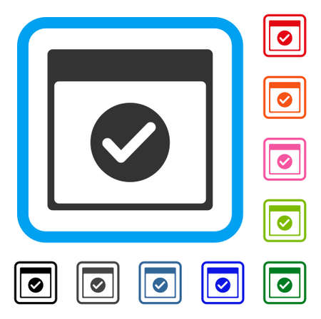 Ok Calendar Day icon. Flat grey iconic symbol in a light blue rounded rectangular frame. Black, gray, green, blue, red, orange color variants of Ok Calendar Day vector. Designed for web and app UI.