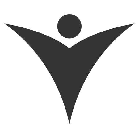 Abstract Man raster pictograph. Style is flat graphic gray symbol.