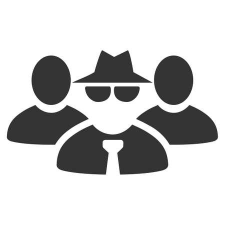Maffia mensen groep vector pictogram. Stijl is plat grafisch grijs symbool. Stock Illustratie