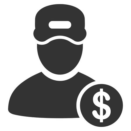 Guy Salary vector pictograph. Style is flat graphic grey symbol. Illustration