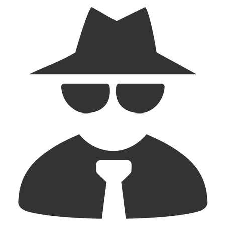 Mafia Boss vector pictogram. Style is flat graphic gray symbol.