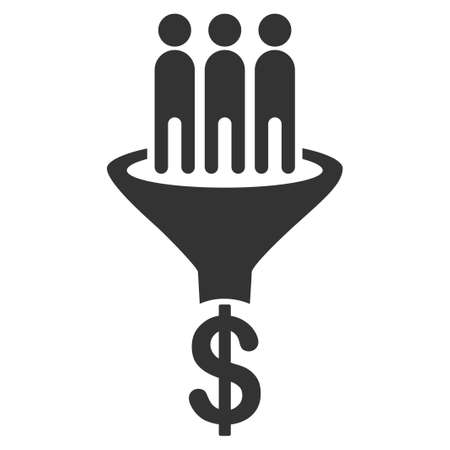 Sales Funnel vector icon. Style is flat graphic grey symbol. Illustration