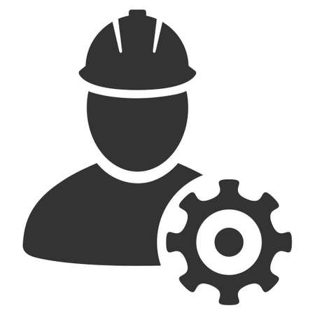 Service Man vector pictogram. Style is flat graphic gray symbol.