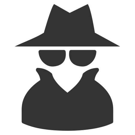 スパイのベクター アイコン。スタイルは、フラット グレーのシンボルです。