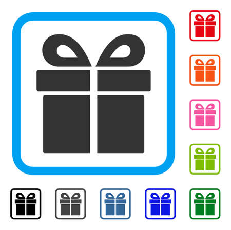 Present icon. Flat grey pictogram symbol inside a light blue rounded rectangle. Black, gray, green, blue, red, orange color versions of Present vector. Designed for web and application interfaces.