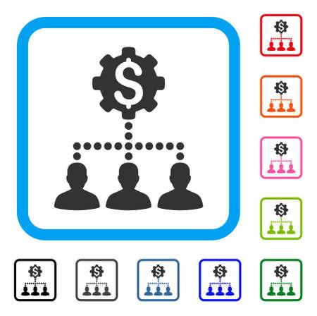 Ícone de clientes do banco industrial. Símbolo de pictograma cinzento liso em um retângulo arredondado azul luz. Variantes de cor preto, cinza, verde, azul, vermelho, laranja de vetor de clientes do banco Industrial.