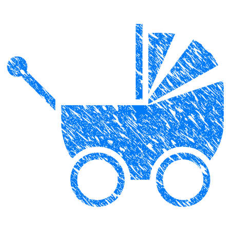 Grunge Baby Carriage icon with grunge design and dust texture. Unclean raster blue Baby Carriage pictogram for rubber seal stamp imitations and watermarks. Draft sticker symbol. Stock Photo