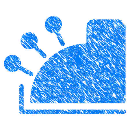 Grunge Cash Register icon with grunge design and scratched texture. Unclean raster blue Cash Register pictogram for rubber seal stamp imitations and watermarks. Draft sign symbol.
