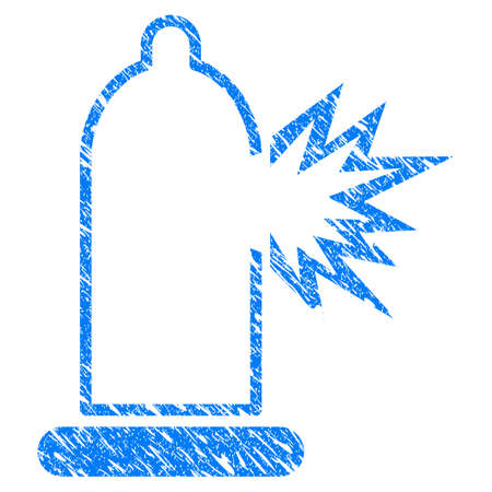 Grunge Condom Damage icon with grunge design and unclean texture. Unclean raster blue Condom Damage pictogram for rubber seal stamp imitations and watermarks. Draft sign symbol.