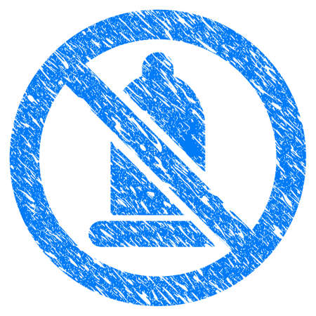 Grunge Condom Forbidden icon with grunge design and dirty texture. Unclean raster blue Condom Forbidden pictogram for rubber seal stamp imitations and watermarks. Draft sign symbol.