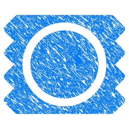 Grunge Condom Package icon with grunge design and dirty texture. Unclean raster blue Condom Package pictogram for rubber seal stamp imitations and watermarks. Draft sign symbol. Stock Photo