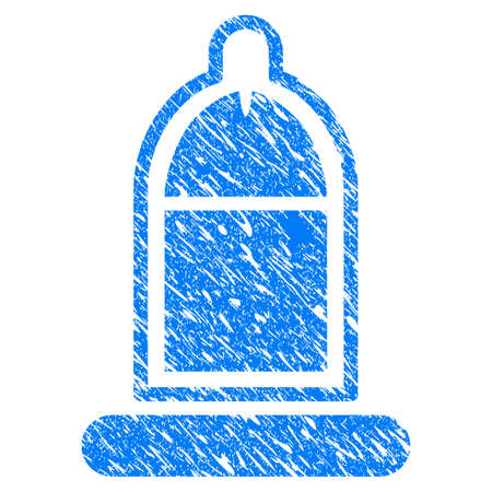 Grunge Condom USAge icon with grunge design and dirty texture. Unclean raster blue Condom USAge pictogram for rubber seal stamp imitations and watermarks. Draft sign symbol. Stock Photo
