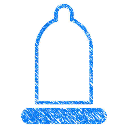 Grunge Condom icon with grunge design and dirty texture. Unclean raster blue Condom pictogram for rubber seal stamp imitations and watermarks. Draft sign symbol. Stock Photo
