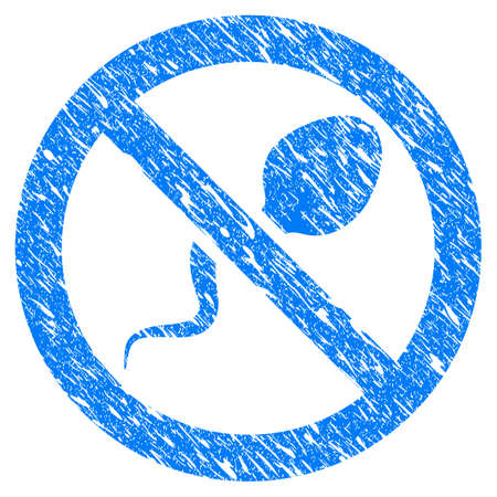 Grunge Contraception icon with grunge design and unclean texture. Unclean raster blue Contraception pictogram for rubber seal stamp imitations and watermarks. Draft sticker symbol.