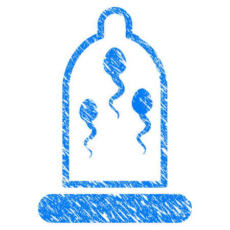 Grunge Sperm Prevention Condom icon with grunge design and dirty texture.