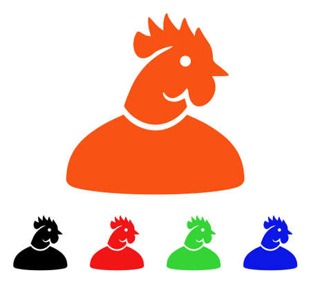 Cock Man icon. Vector illustration style is a flat iconic cock man symbol with black, orange, red, green, blue color variants. Designed for web apps and software interfaces.