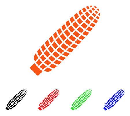 sweetcorn: Corn Ear icon. Vector illustration style is a flat iconic corn ear symbol with black, orange, red, green, blue color versions. Designed for web apps and software interfaces.