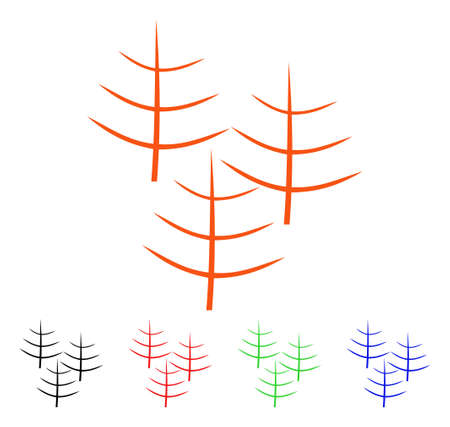Dead Forest icon. Vector illustration style is a flat iconic dead forest symbol with black, orange, red, green, blue color variants. Designed for web apps and software interfaces. Illustration
