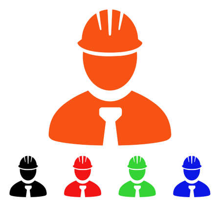Engineer icon. Vector illustration style is a flat iconic engineer symbol with black, orange, red, green, blue color variants. Designed for web apps and software interfaces.