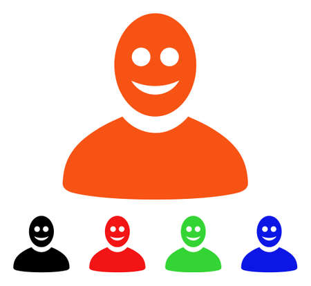 Happy Person icon. Vector illustration style is a flat iconic happy person symbol with black, orange, red, green, blue color versions. Designed for web apps and software interfaces.