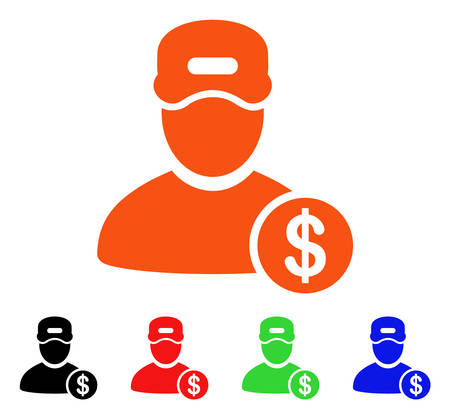 Guy Salary icon. Vector illustration style is a flat iconic guy salary symbol with black, orange, red, green, blue color versions. Designed for web apps and software interfaces. Stock Vector - 88247856