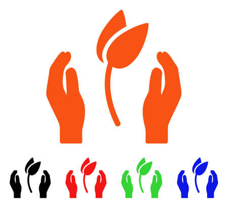 Sprout Care Hands icon. Vector illustration style is a flat iconic sprout care hands symbol with black, orange, red, green, blue color variants. Designed for web apps and software interfaces. Illustration