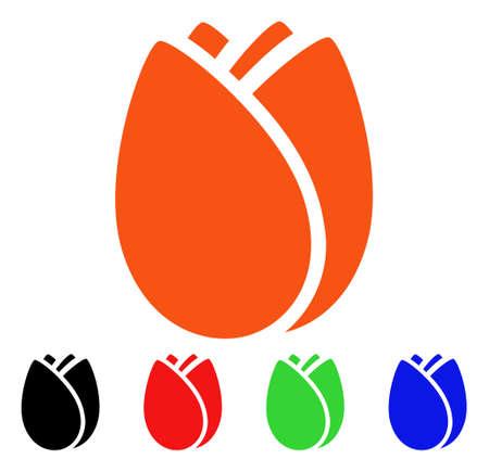 Icona Tulip Bud. Lo stile di illustrazione vettoriale è un simbolo iconico di un bocciolo di tulipano piatto con versioni di colore nero, arancione, rosso, verde e blu. Progettato per applicazioni Web e interfacce software. Vettoriali