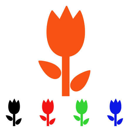 Tulip icon. Vector illustration style is a flat iconic tulip symbol with black, orange, red, green, blue color variants. Designed for web apps and software interfaces.