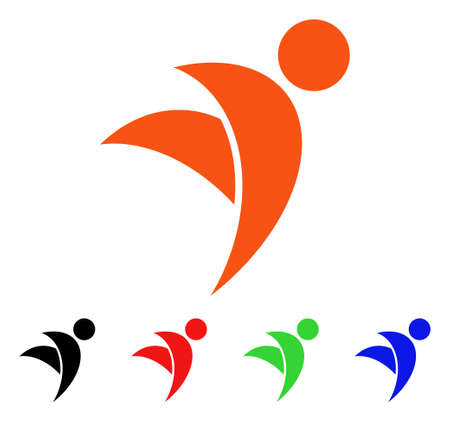 Winged Man icon. Vector illustration style is a flat iconic winged man symbol with black, orange, red, green, blue color versions. Designed for web apps and software interfaces.
