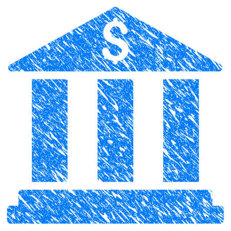 Grunge Bank Building icon with scratched design and dirty texture. Unclean raster blue Bank Building pictogram for rubber seal stamp imitations and watermarks. Draft sticker symbol.