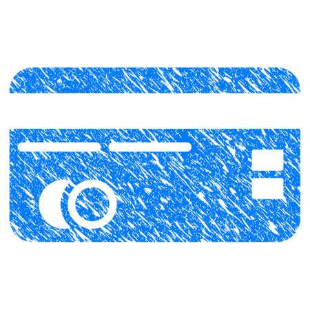 Grunge creditcard pictogram met gekrast ontwerp en vuile textuur. Onrein raster blauw Creditcard pictogram voor rubberen afdichting stempel imitaties en watermerken. Conceptsticker-symbool.
