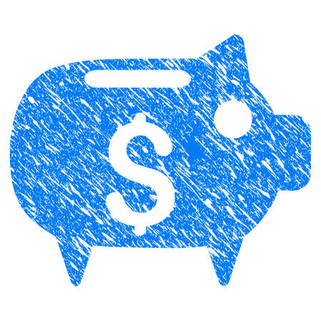 Grunge Piggy Bank icon with scratched design and unclean texture. Illustration