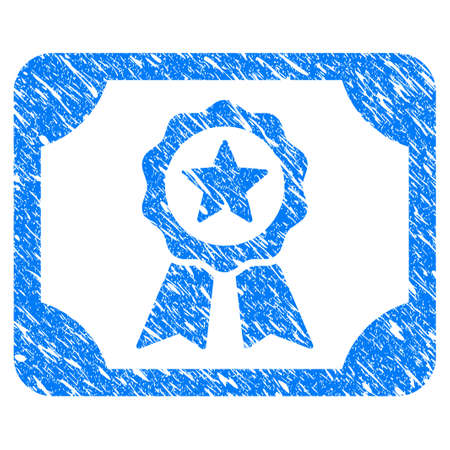 Grunge Authorize Diploma icon with scratched design and dirty texture. Unclean raster blue Authorize Diploma pictogram for rubber seal stamp imitations and watermarks. Draft sticker symbol.