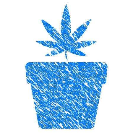 Grunge Cannabis Pot icon with scratched design and dirty texture. Unclean raster blue Cannabis Pot pictogram for rubber seal stamp imitations and watermarks. Draft sticker symbol. Stock Photo