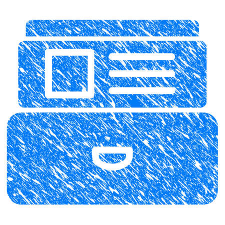 Grunge Card Index icon with scratched design and scratched texture. Unclean raster blue Card Index pictogram for rubber seal stamp imitations and watermarks. Draft sticker symbol.