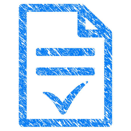 Grunge Agreement Document icon with scratched design and scratched texture. Unclean raster blue Agreement Document pictogram for rubber seal stamp imitations and watermarks. Draft emblem symbol. Stock Photo