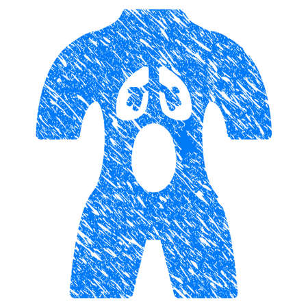 Grunge Anatomy icon with scratched design and grungy texture. Unclean raster blue Anatomy pictogram for rubber seal stamp imitations and watermarks. Draft sticker symbol. Stock Photo