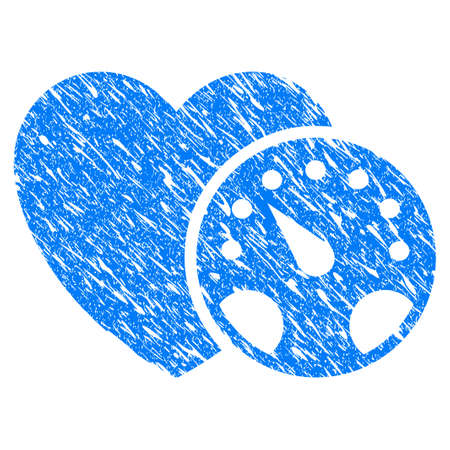 Grunge Blood Pressure icon with scratched design and dust texture. Unclean raster blue Blood Pressure pictogram for rubber seal stamp imitations and watermarks. Draft emblem symbol.