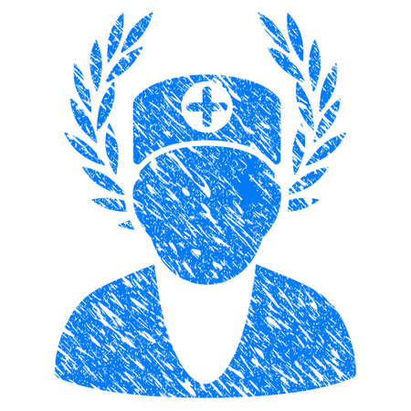 Grunge Doctor Laurel Wreath icon with scratched design and grungy texture. Unclean raster blue Doctor Laurel Wreath pictogram for rubber seal stamp imitations and watermarks. Draft sign symbol.