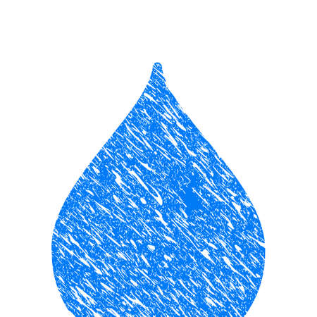 Grunge Drop icon with scratched design and dust texture. Unclean raster blue Drop pictogram for rubber seal stamp imitations and watermarks. Draft emblem symbol.
