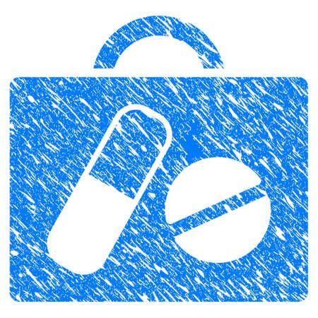 Grunge Drugs Case pictogram met gekrast ontwerp en vuile textuur. Unclean raster blue Drug Case pictogram voor rubberen afdichting stempelimitaties en watermerken. Concept embleem symbool.