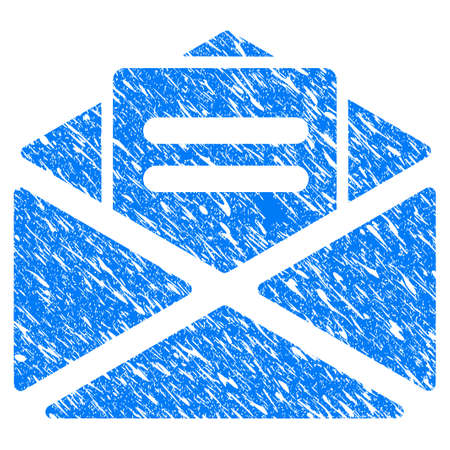 Grunge Mail icon with scratched design and dirty texture. Unclean raster blue Mail pictogram for rubber seal stamp imitations and watermarks. Draft sticker symbol. Stock Photo