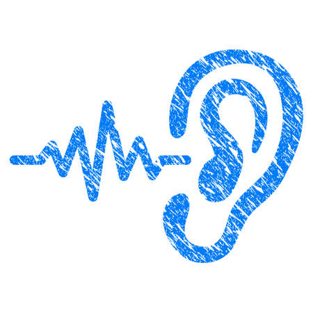 Grunge Hearing Signal icon with scratched design and unclean texture. Unclean raster blue Hearing Signal pictogram for rubber seal stamp imitations and watermarks. Draft emblem symbol.