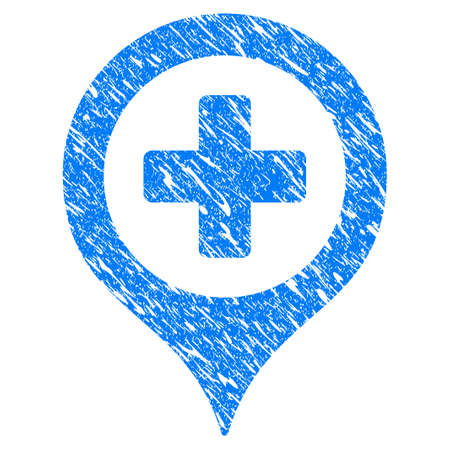 Grunge Hospital Map Marker icon with scratched design and grungy texture. Unclean raster blue Hospital Map Marker pictogram for rubber seal stamp imitations and watermarks. Draft sticker symbol.