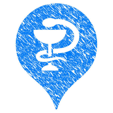 Grunge Hospital Map Marker icon with scratched design and dust texture. Unclean raster blue Hospital Map Marker pictogram for rubber seal stamp imitations and watermarks. Draft sticker symbol. Stock Photo