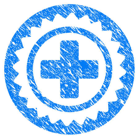 Grunge Medical Cross Stamp icon with scratched design and dust texture. Unclean raster blue Medical Cross Stamp pictogram for rubber seal stamp imitations and watermarks. Draft emblem symbol. Stock Photo