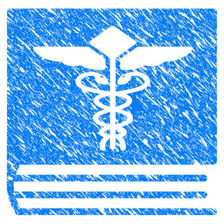 Grunge Medical Book icon with scratched design and scratched texture. Unclean raster blue Medical Book pictogram for rubber seal stamp imitations and watermarks. Draft emblem symbol.