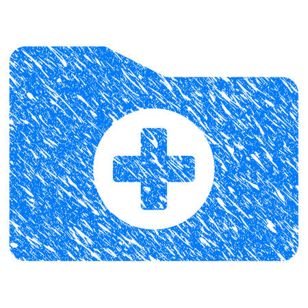 directory: Grunge Medical Folder icon with scratched design and dust texture. Unclean raster blue Medical Folder pictogram for rubber seal stamp imitations and watermarks. Draft sticker symbol. Stock Photo