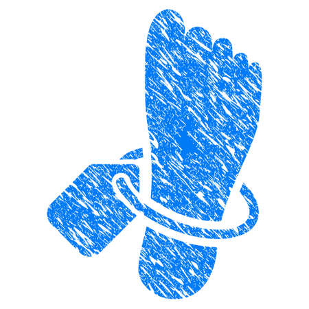 Grunge Morgue Tagged Foot icon with scratched design and scratched texture. Unclean raster blue Morgue Tagged Foot pictogram for rubber seal stamp imitations and watermarks. Draft emblem symbol. Stock Photo
